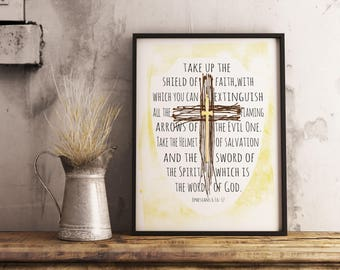 Armor Of God , Ephesians 6, Bible Quote Print - instant download, Printable Poster, Inspirational, Scripture Quote, Confirmation, KJV, NIV