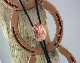 Western Bolo Tie - Leopard Skin Jasper Bolo Tie - Cowboy Bolo Tie - Handmade Bolo Tie - Silver Bolo Slide with a Leopard Skin Jasper Stone