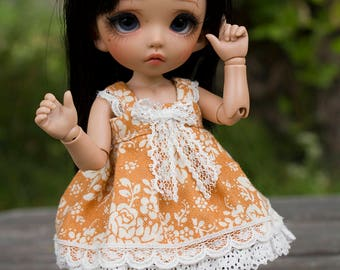 Orange summer dress with lace for Pukifee