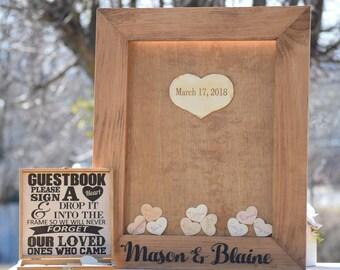 Rustic Wedding Guest Book Alternative - Heart Drop Guest Book - Alternative Drop Box - Unique Guest Book Hearts - Wedding Wishes Drop Box