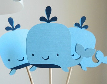 3 Whale Centerpiece Sticks Whale Table Decorations Whale Baby Shower Whale Birthday Party Whale Table Centerpiece Sticks • Set of 3