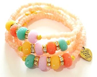 Peach Beaded Bracelet Set, Colorful Beads, Minimalist, Stretchy, Bracelet Stack, OOAK Jewelry, Custom Handmade Beaded Jewelry