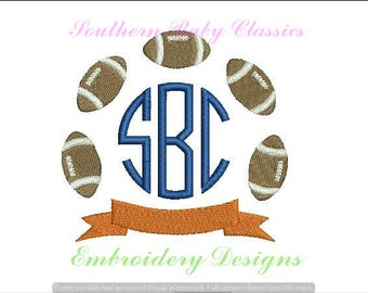 Football Banner Monogram Frame Circle Design File for Embroidery Machine  Instant Download