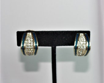 Christian Dior Clip On Earrings - Gold Tone with Blue-Green Enameling and Crystals - S2427