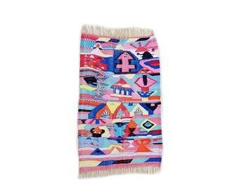 "71""X45"" Handwoven moroccan kilim rug, boucherouite rug, handmade rug, geometric pattern, colorful rug, chic ethnic, moroccan decor"