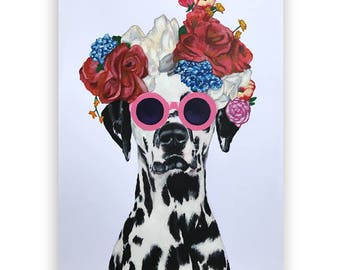 Original dalmatian Painting, on high quality 250g Art paper, handpainted by Coco de Paris: Flower Power dalmatian