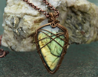 Hand Made Wire Wrapped Labradorite Pendant in Tarnish Resistant Brass