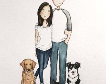 Custom illustration/ Personalized Portrait. Adorable Watercolor, couples, Birthday, Anniversary, wedding (1 person, 2lg & 1sml pet)