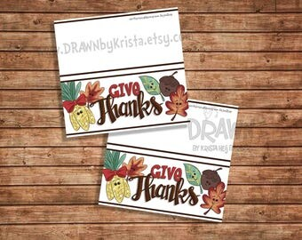 Give Thanks Bag Topper PLUS PYO Version, Printable, Fall, Thanksgiving Bag Topper, Customizable