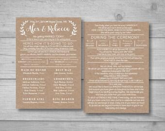 Rustic wedding program, DIY wedding program, Bride on a budget, Barn wedding, Funny wedding program, Outdoor wedding, Wedding decorations