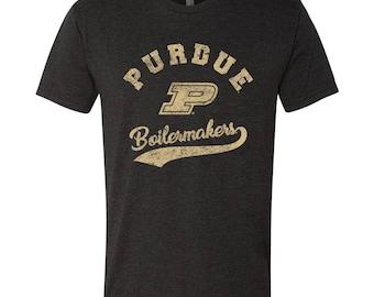 Purdue Boilermakers Retro Script Triblend T-Shirt - Vintage Black