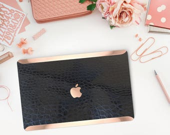 Black Mica Alligator Leather Macbook Case and Rose Gold Edge Detailing Case for Apple Macbook Air, Macbook Pro Touch - Platinum Edition