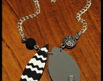 Necklace black gray and white modern polymer