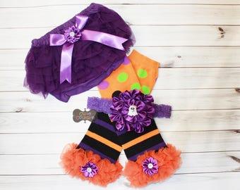 HALLOWEEN-Boutique Style-Leg Warmer Set-Ruffled Leg Warmers, Orange & Black, Purple Halloween, Ghost, Baby Leg Warmer-Girls Leg Warmer