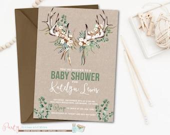 Antler Baby Shower Invitation, Rustic Baby Shower Invitation, Deer Baby Shower Invitation, Gender Neutral Baby Shower Invitation, Boho