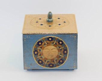 Isla del Sol Storage Box Sun Blue Gold Gilded Wooden Unique Home Decor Altar Decoration Maya Inca Symbol Unique Gift