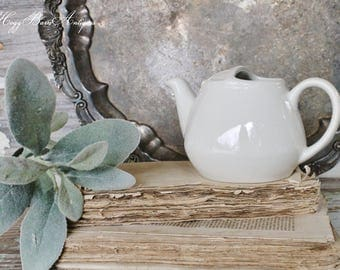 Vintage White Ironstone Pitcher HALL CHINA Tea Pot Restaurant Ware French Country Farmhouse Chic