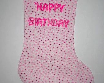 Pink Flowers Birthday Stocking