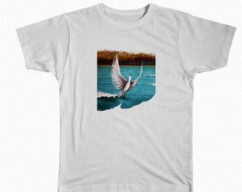TAKING OFF bird t shirt Direct to garment printing from acrylic painting