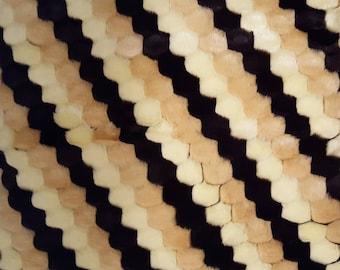 Faux Fur Diagonal Tri Color Bubble Fabric