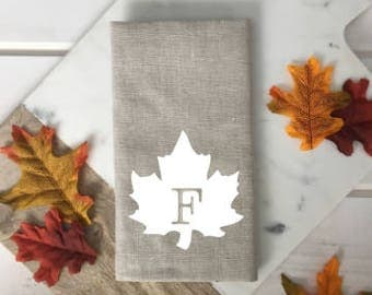 Personalized Monogram Fall Leaf Linen Napkins Custom Thanksgiving napkin Neutral linen napkin white beige napkin fall decor hostess gift