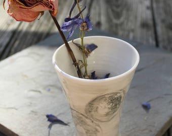 Porcelain Tumbler/Vase wine goblet Sumi-e Ink inspired
