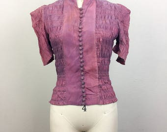 Vintage 30s 40s Purple SMOCKED Blouse XS/S