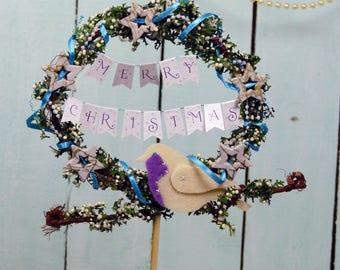 Christmas cake topper Season's Greetings cake bunting Ready to ship