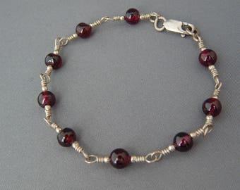 Vintage Garnet Link Bracelet Sterling Silver, Hand Wired Silver and Garnet Link Bracelet, Boho Jewelry