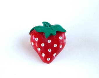 Vintage Strawberry Pin, Red Plastic Strawberry Pin, Fruit Pin, Red Jewelry