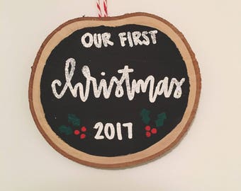 """Newlywed """"First Christmas"""" Wood Ornament"""
