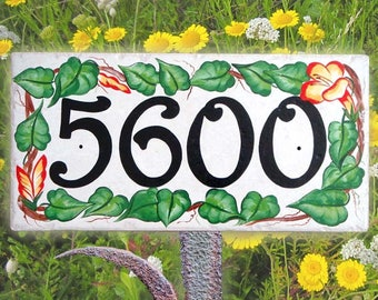 Floral house number plaques, House numbers, Outdoor sign, Wreath house sign, Green leaves wall sign, floral house plaque.