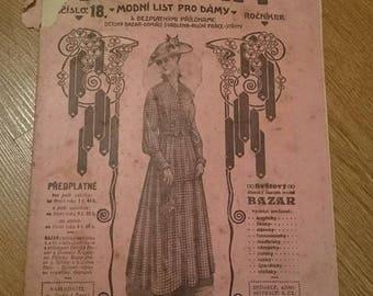 Vintage Bazar Fashion Magazine 1916. Edwardian, Scrapbooking, Ephemera, Art, Decoupage. (No. 18)
