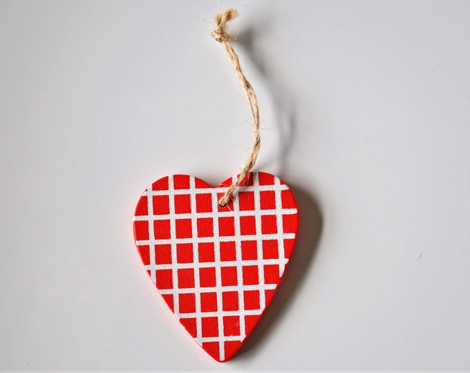Swedish Wood Heart Ornament Hand Painted Red and White Checked Christmas Jul