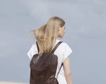 Sale, Leather Backpack, Women Bag, Chocolate Brown Leather Bag, Dark Brown Handmade Leather Bag