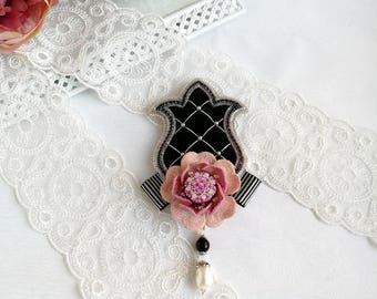 Black handmade brooch with Pink flower velvet brooch embroidered brooch handmade jewelry gift for her