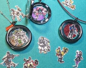 OVERWATCH Floating Locket paper charms - hand drawn and painted - Choose your character