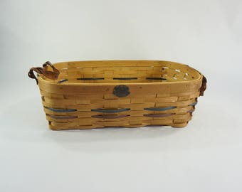 Peterboro Basket, Split Oak Woven Round Basket w/ Leather Handles, Long, Rectangular Basket, 150th Anniversary Basket, 2004 Basket