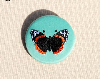 Small embroidered Vulcan Butterfly brooch