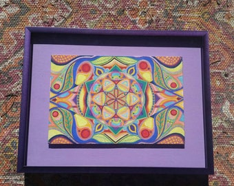 Seed of Life Sacred Geometry Psychedelic Watercolor Original Painting