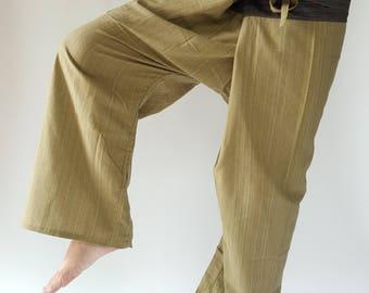 2TC0006 Light Green Thai Fisherman Pants with Thai hand woven fabric on waist side, Wide Leg pants, Wrap pants, Unisex pants