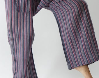 HW0011 Handwoven Cotton Fisherman Pants Wide Leg pants, Wrap pants, Unisex pants