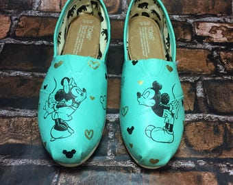 mint gold mickey minnie sketch toms disney wedding shoes mickey shoes mint