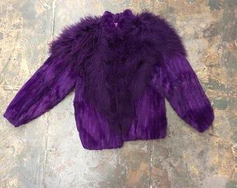 SOLD! Vibrant vintage 1980s Purple MONGOLIAN curly LAMB Jacket Coat Rabbit fur