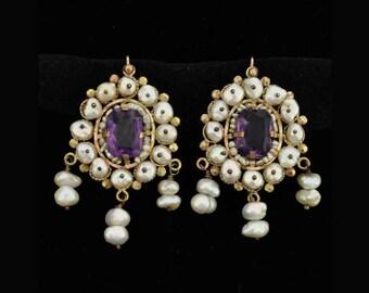 Vintage Mexican Gold Earrings Pearl Amethyst Oaxaca Frida Style 14K
