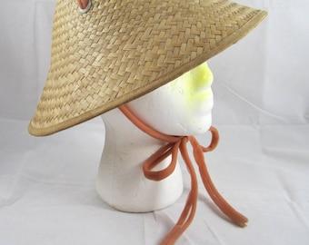 Straw Coolie Style Sun Hat  Beach Gardening VTG 1950s 1960s