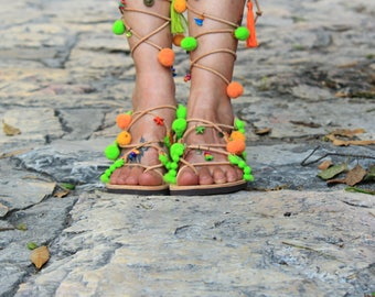 Tie up Gladiator Sandals, Greek Leather Boho Sandals, pom pom sandals, green orange sandals, colorful hippie sandals, ethnic sandals, PHOEBE