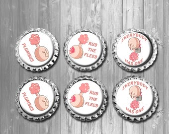 Plumbus Rick and Morty Bottle Cap Magnets - Set of 6