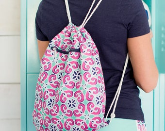 PERSONALIZED DRAWSTRING BACKPACK - Monogrammed Girls Cinch Sack -Tile Print Dance Bag - Back to School - Gifts for Girls  - Girls Gym Bag