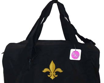 Fleur de Lis Duffel New Orleans Louisiana Mardi Gras  + Free Name Monogram Custom Embroidered